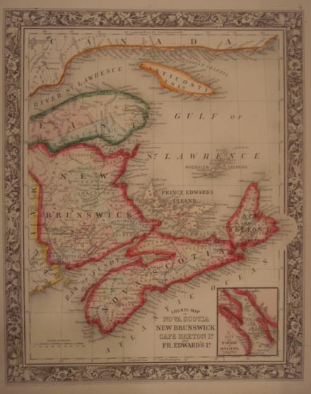 Map. County Map of Nova Scotia, New Brunswick, Cape Breton Island, and Prince Edward Island.