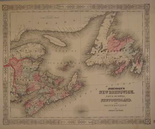 Map. Johnson's New Brunswick, Nova Scotia, Newfo...