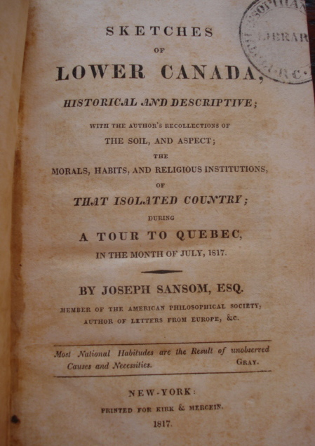Sketches of Lower Canada, Historical and Descriptive.