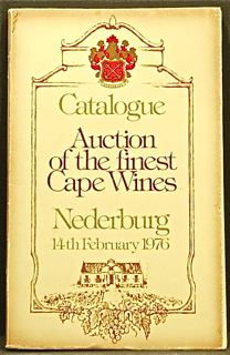 Auction of the Finest Cape Wines. Auction Catalogue.