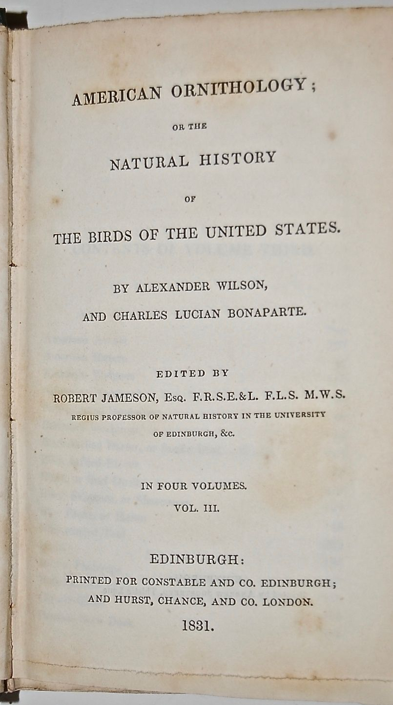 American Ornithology; or the Natural History of the Birds of the United States.  Volume III.